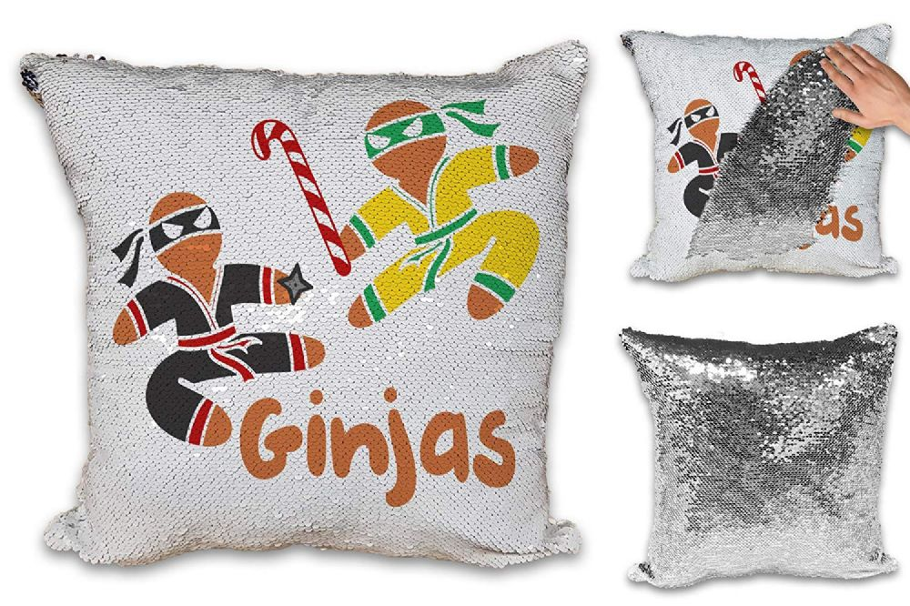 Ginjas Funny Gingerbread Man Novelty Sequin Reveal Magic Cushion Cover